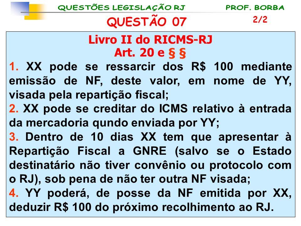 Livro II do RICMS-RJ Art. 20 e § § 1. XX pode se ressarcir dos R$ 100 mediante emissão de NF, deste valor, em nome de YY, visada pela repartição fisca