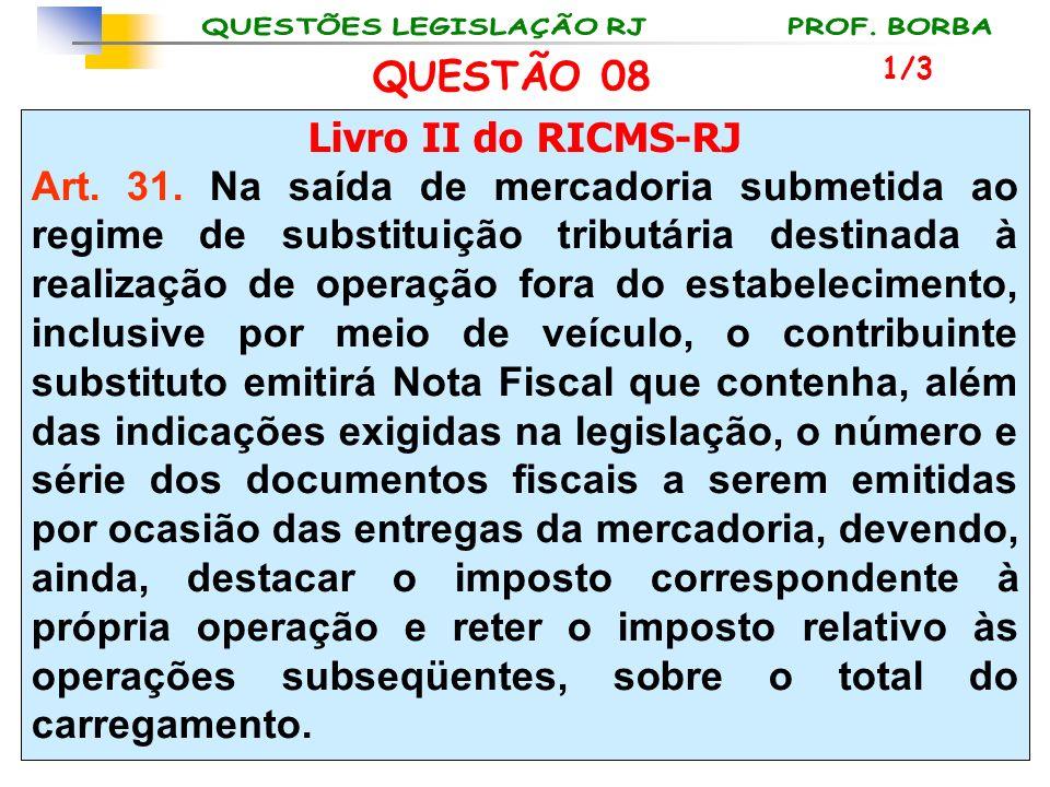 Livro II do RICMS-RJ Art. 31. Na saída de mercadoria submetida ao regime de substituição tributária destinada à realização de operação fora do estabel