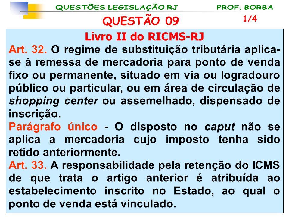 Livro II do RICMS-RJ Art. 32. O regime de substituição tributária aplica- se à remessa de mercadoria para ponto de venda fixo ou permanente, situado e