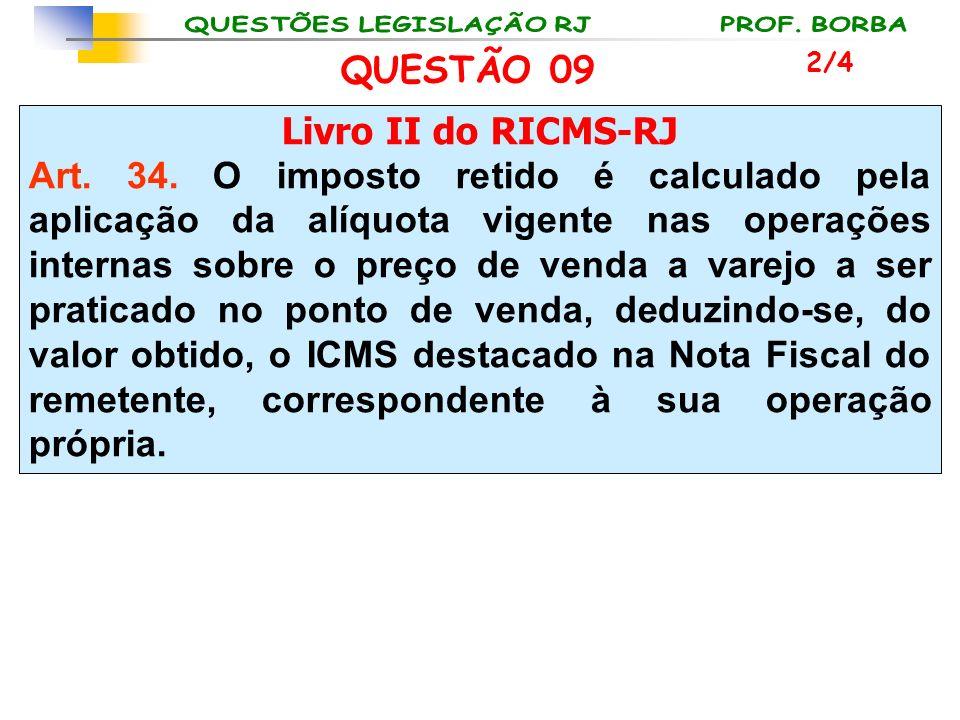 Livro II do RICMS-RJ Art. 34. O imposto retido é calculado pela aplicação da alíquota vigente nas operações internas sobre o preço de venda a varejo a