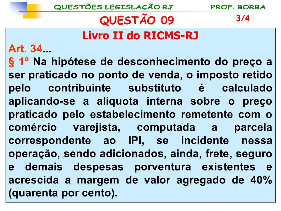 Livro II do RICMS-RJ Art. 34... § 1º Na hipótese de desconhecimento do preço a ser praticado no ponto de venda, o imposto retido pelo contribuinte sub