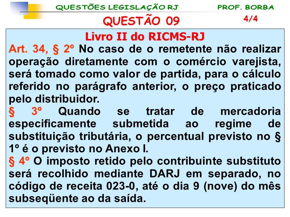 Livro II do RICMS-RJ Art. 34, § 2º No caso de o remetente não realizar operação diretamente com o comércio varejista, será tomado como valor de partid