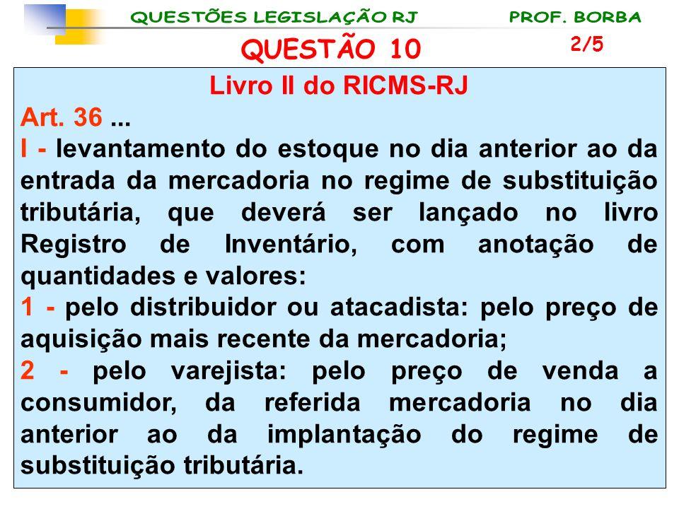 Livro II do RICMS-RJ Art. 36... I - levantamento do estoque no dia anterior ao da entrada da mercadoria no regime de substituição tributária, que deve