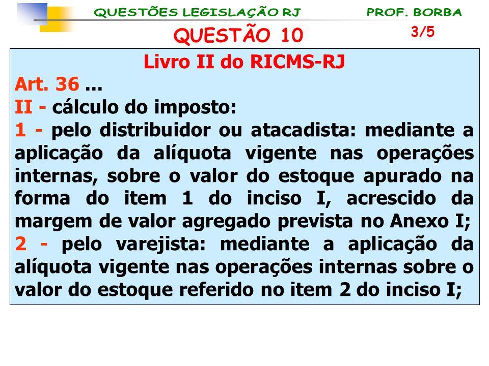 Livro II do RICMS-RJ Art. 36... II - cálculo do imposto: 1 - pelo distribuidor ou atacadista: mediante a aplicação da alíquota vigente nas operações i
