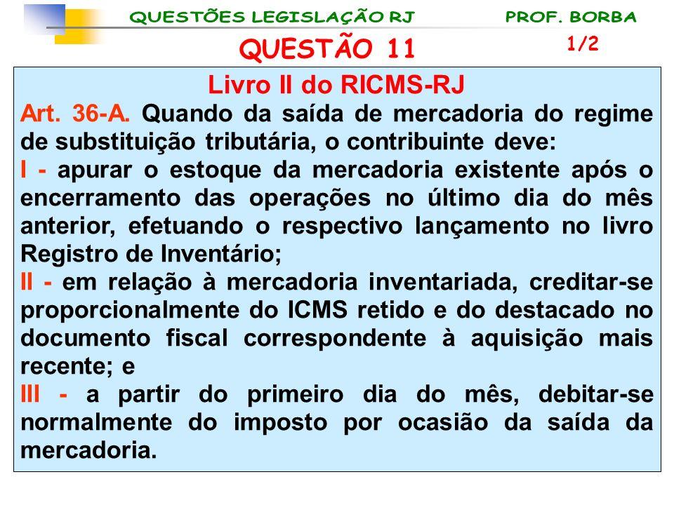 Livro II do RICMS-RJ Art. 36-A. Quando da saída de mercadoria do regime de substituição tributária, o contribuinte deve: I - apurar o estoque da merca