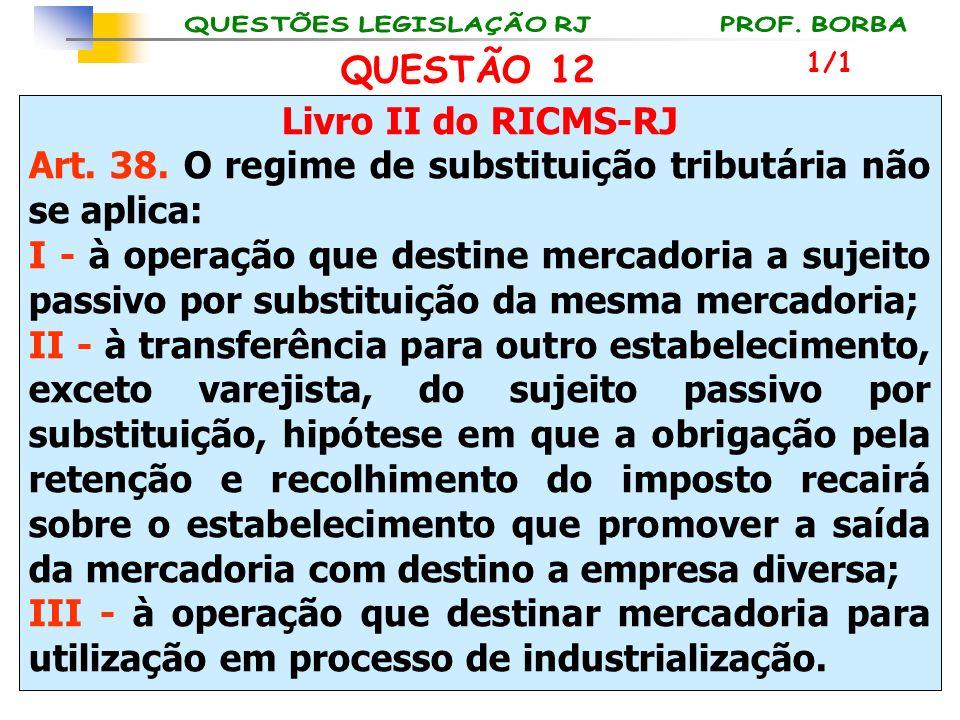 Livro II do RICMS-RJ Art. 38. O regime de substituição tributária não se aplica: I - à operação que destine mercadoria a sujeito passivo por substitui