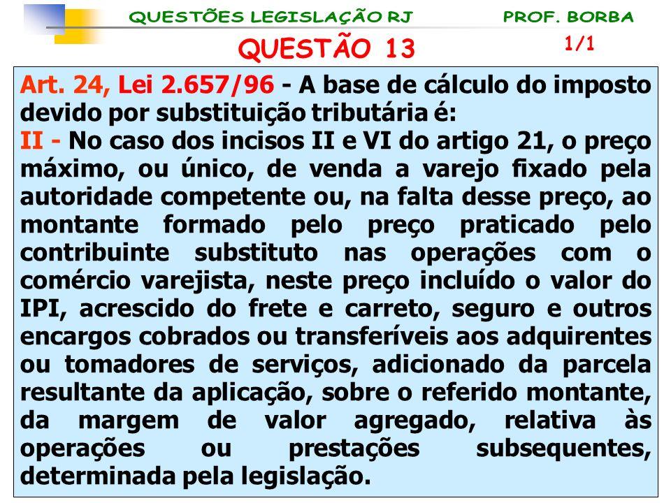 Art. 24, Lei 2.657/96 - A base de cálculo do imposto devido por substituição tributária é: II - No caso dos incisos II e VI do artigo 21, o preço máxi
