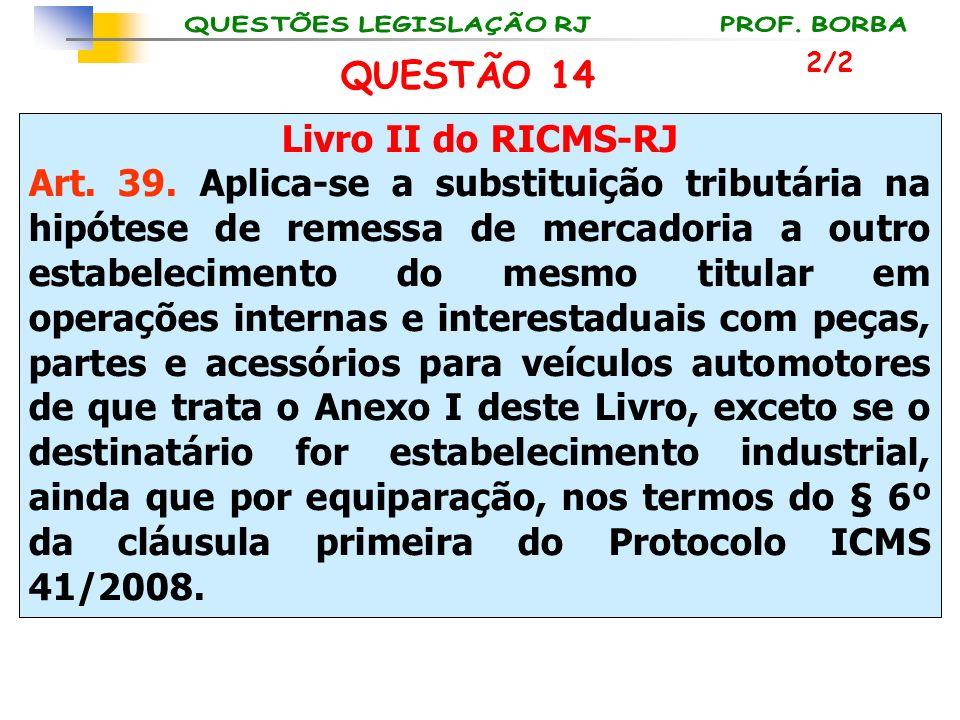 Livro II do RICMS-RJ Art. 39. Aplica-se a substituição tributária na hipótese de remessa de mercadoria a outro estabelecimento do mesmo titular em ope