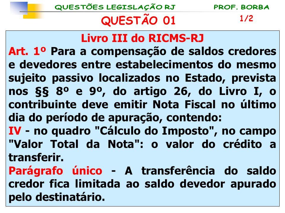 Livro III do RICMS-RJ Art. 1º Para a compensação de saldos credores e devedores entre estabelecimentos do mesmo sujeito passivo localizados no Estado,