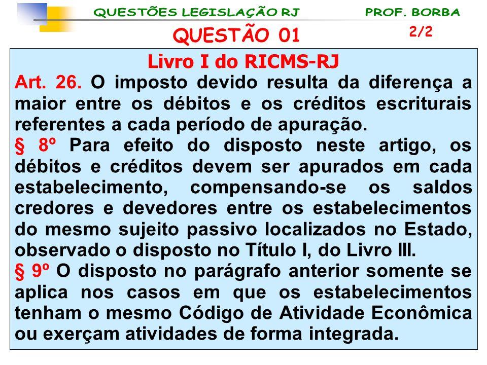 Livro I do RICMS-RJ Art. 26. O imposto devido resulta da diferença a maior entre os débitos e os créditos escriturais referentes a cada período de apu