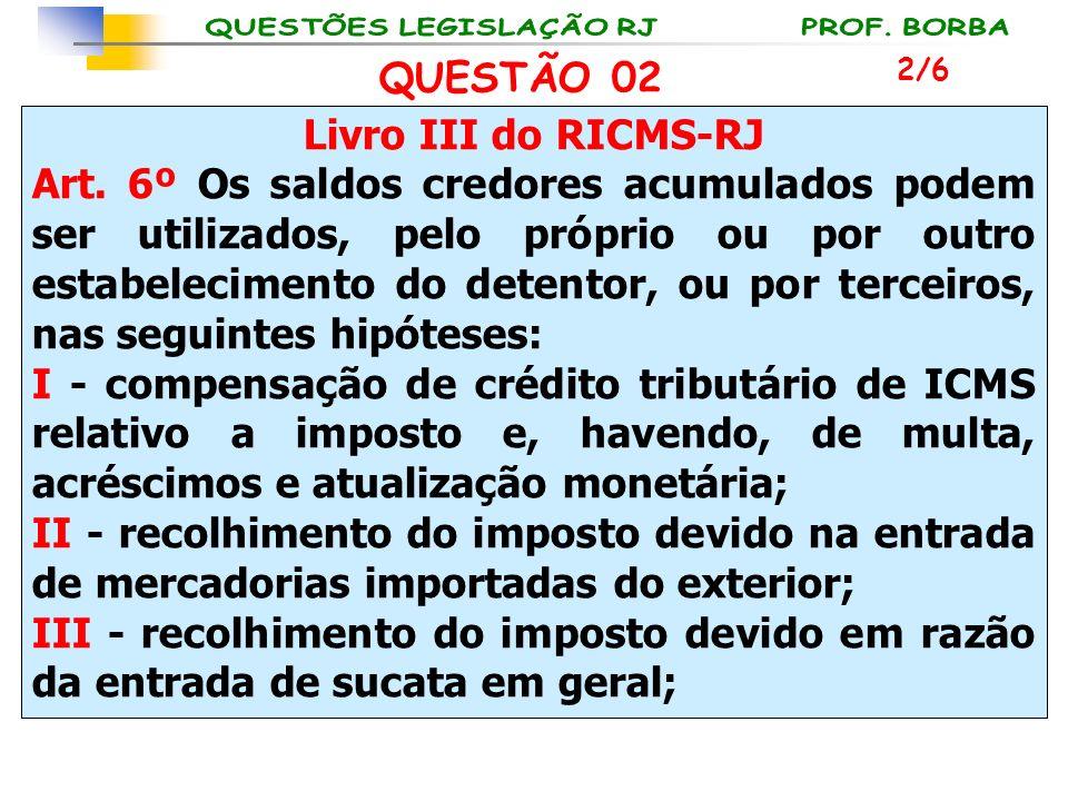 Livro III do RICMS-RJ Art. 6º Os saldos credores acumulados podem ser utilizados, pelo próprio ou por outro estabelecimento do detentor, ou por tercei