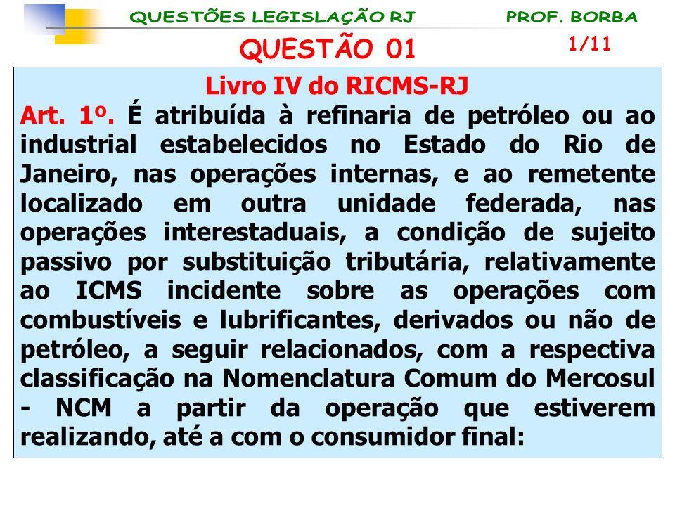 Livro IV do RICMS-RJ Art. 1º. É atribuída à refinaria de petróleo ou ao industrial estabelecidos no Estado do Rio de Janeiro, nas operações internas,