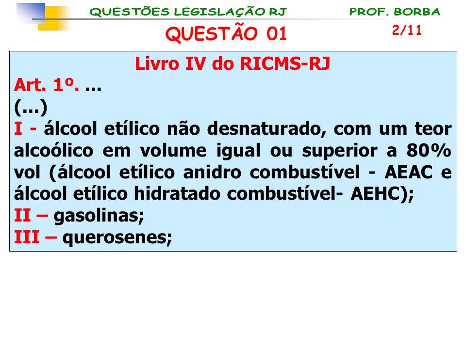 Livro IV do RICMS-RJ Art. 1º.... (...) I - álcool etílico não desnaturado, com um teor alcoólico em volume igual ou superior a 80% vol (álcool etílico