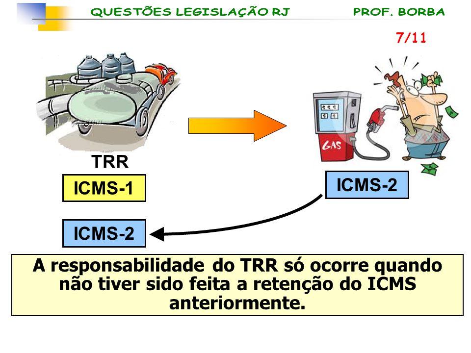 TRR ICMS-1 ICMS-2 A responsabilidade do TRR só ocorre quando não tiver sido feita a retenção do ICMS anteriormente. 7/11