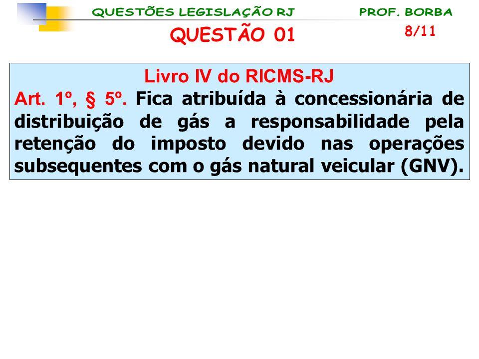 Livro IV do RICMS-RJ Art. 1º, § 5º. Fica atribuída à concessionária de distribuição de gás a responsabilidade pela retenção do imposto devido nas oper
