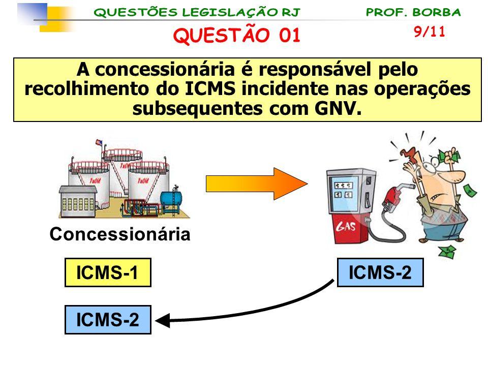 9/11 QUESTÃO 01 Concessionária ICMS-1 ICMS-2 A concessionária é responsável pelo recolhimento do ICMS incidente nas operações subsequentes com GNV.