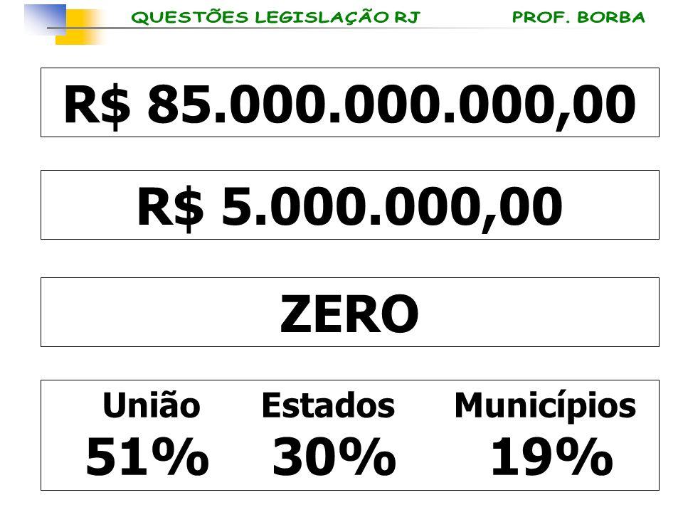 R$ 85.000.000.000,00 R$ 5.000.000,00 ZERO União Estados Municípios 51% 30% 19%