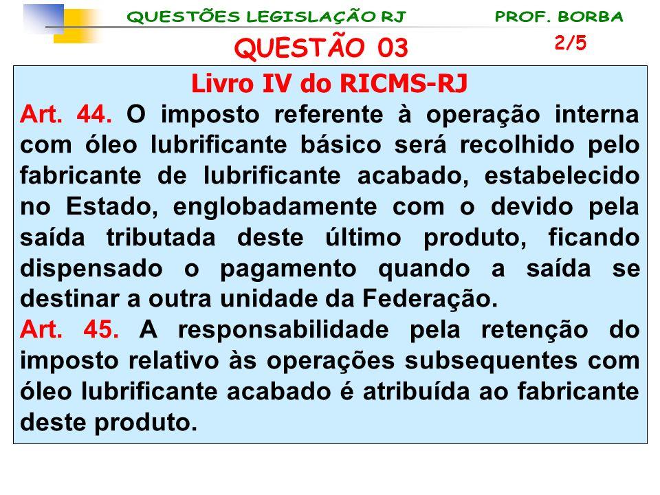 Livro IV do RICMS-RJ Art. 44. O imposto referente à operação interna com óleo lubrificante básico será recolhido pelo fabricante de lubrificante acaba