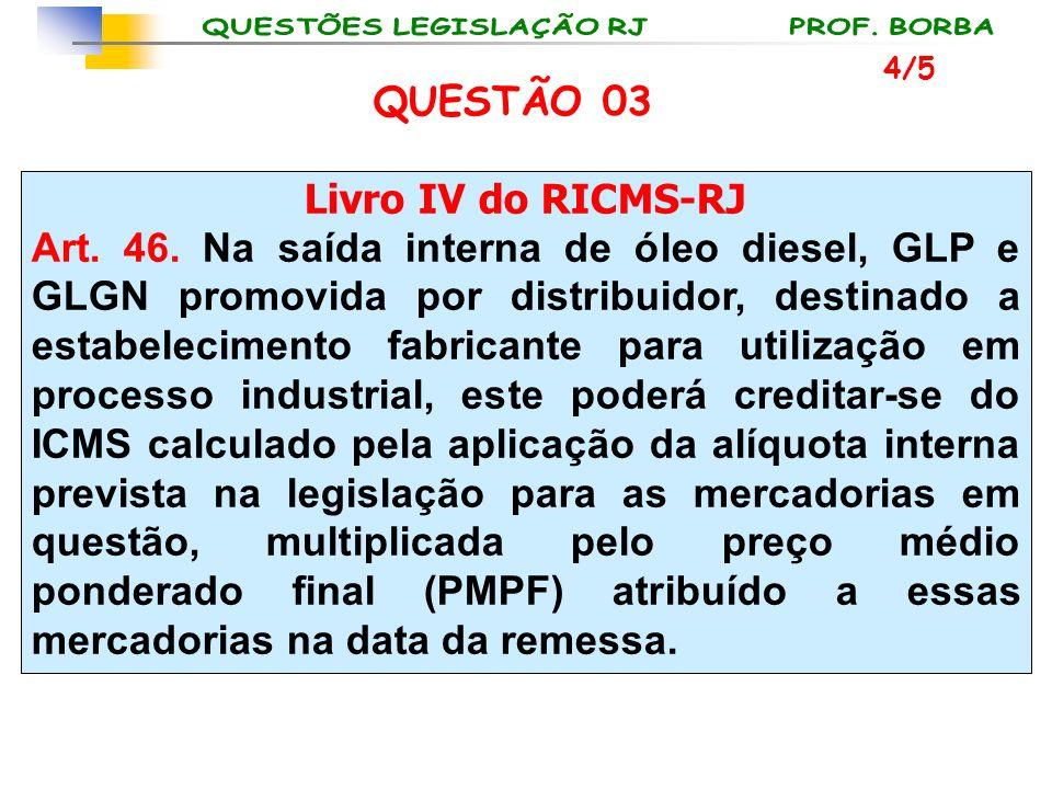 Livro IV do RICMS-RJ Art. 46. Na saída interna de óleo diesel, GLP e GLGN promovida por distribuidor, destinado a estabelecimento fabricante para util