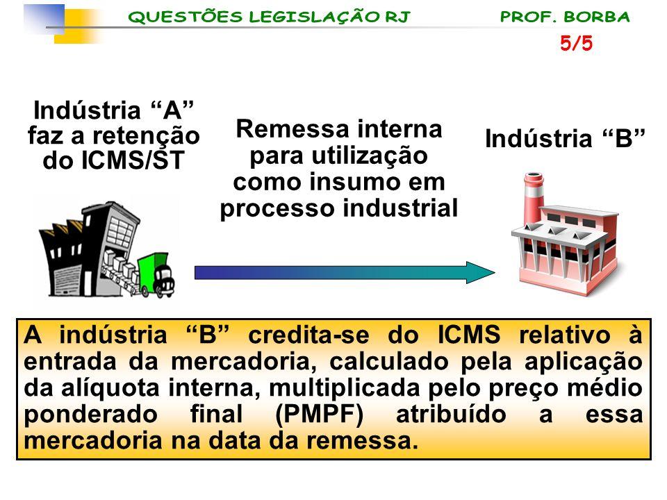 Indústria B Remessa interna para utilização como insumo em processo industrial Indústria A faz a retenção do ICMS/ST A indústria B credita-se do ICMS
