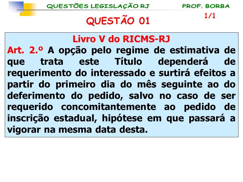 Livro V do RICMS-RJ Art. 2.º A opção pelo regime de estimativa de que trata este Título dependerá de requerimento do interessado e surtirá efeitos a p