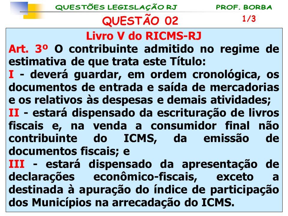 Livro V do RICMS-RJ Art. 3º O contribuinte admitido no regime de estimativa de que trata este Título: I - deverá guardar, em ordem cronológica, os doc