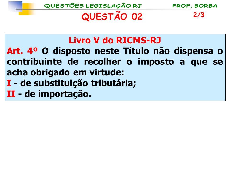 Livro V do RICMS-RJ Art. 4º O disposto neste Título não dispensa o contribuinte de recolher o imposto a que se acha obrigado em virtude: I - de substi