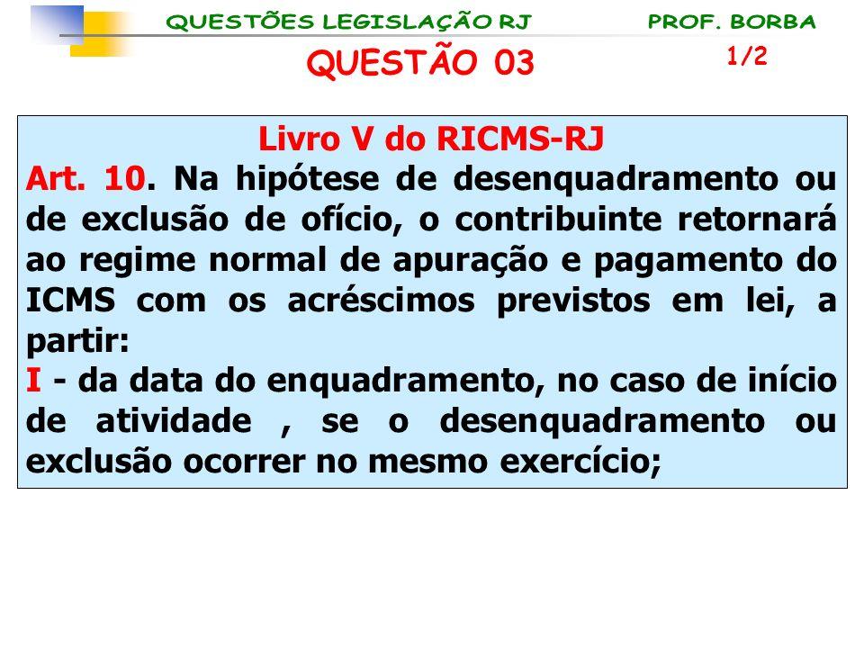 Livro V do RICMS-RJ Art. 10. Na hipótese de desenquadramento ou de exclusão de ofício, o contribuinte retornará ao regime normal de apuração e pagamen