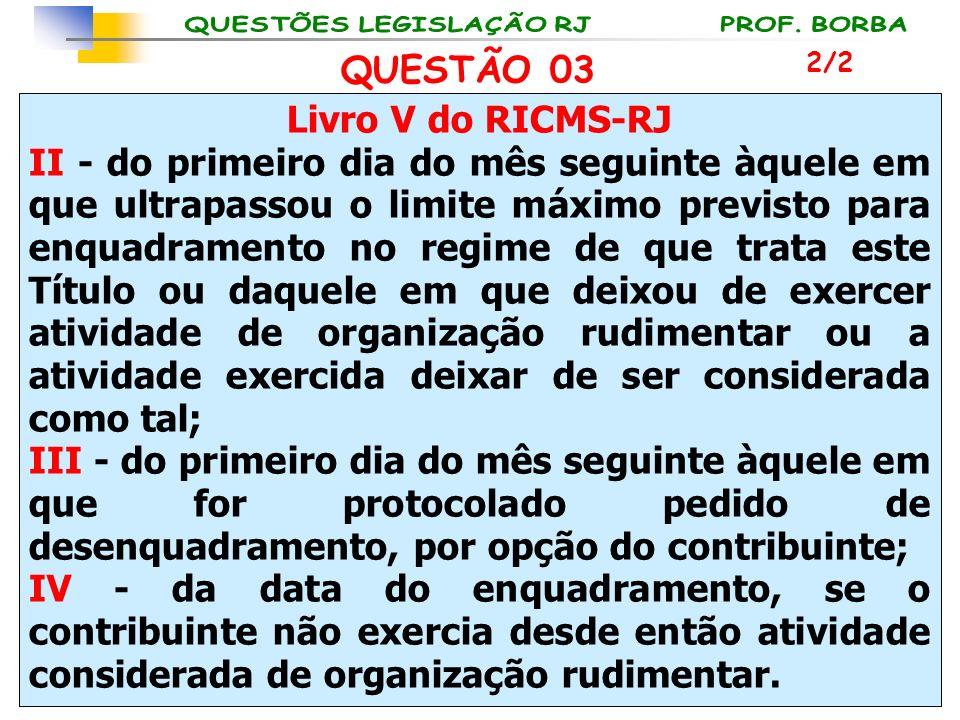 Livro V do RICMS-RJ II - do primeiro dia do mês seguinte àquele em que ultrapassou o limite máximo previsto para enquadramento no regime de que trata