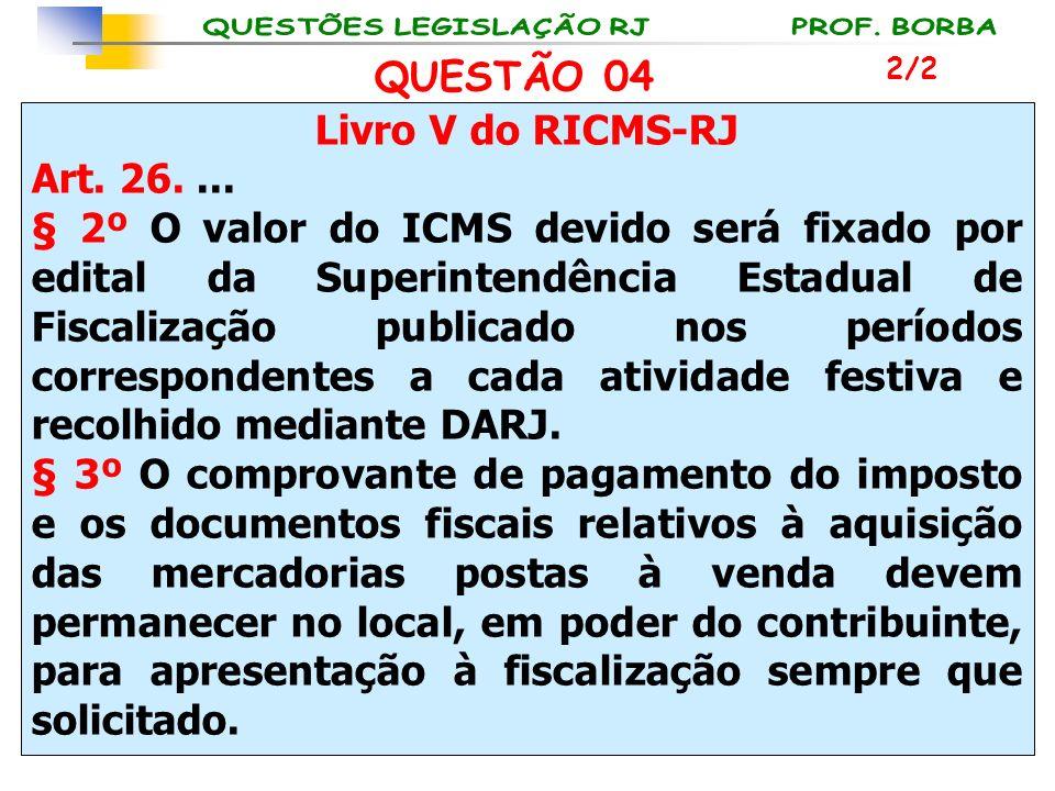 Livro V do RICMS-RJ Art. 26.... § 2º O valor do ICMS devido será fixado por edital da Superintendência Estadual de Fiscalização publicado nos períodos