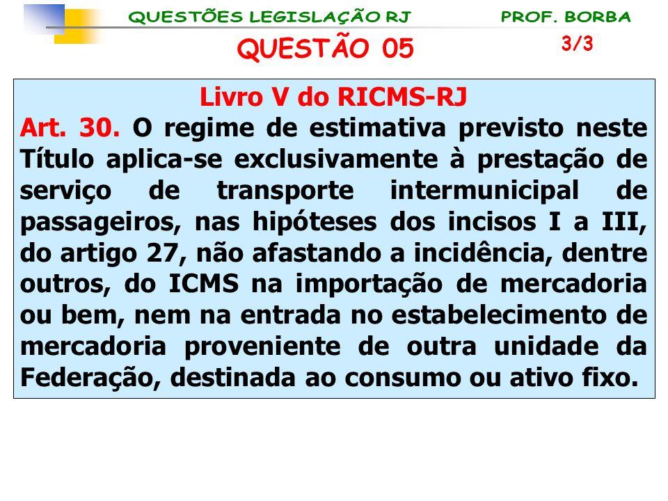 Livro V do RICMS-RJ Art. 30. O regime de estimativa previsto neste Título aplica-se exclusivamente à prestação de serviço de transporte intermunicipal