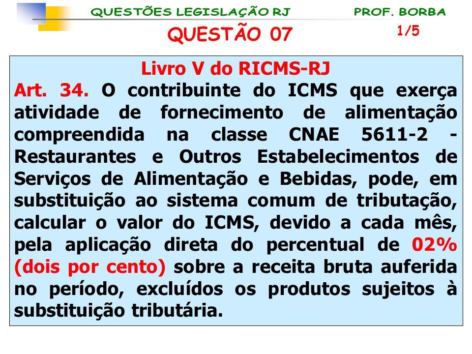 Livro V do RICMS-RJ Art. 34. O contribuinte do ICMS que exerça atividade de fornecimento de alimentação compreendida na classe CNAE 5611-2 - Restauran