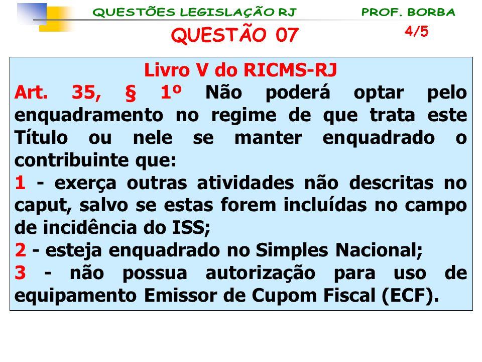 Livro V do RICMS-RJ Art. 35, § 1º Não poderá optar pelo enquadramento no regime de que trata este Título ou nele se manter enquadrado o contribuinte q