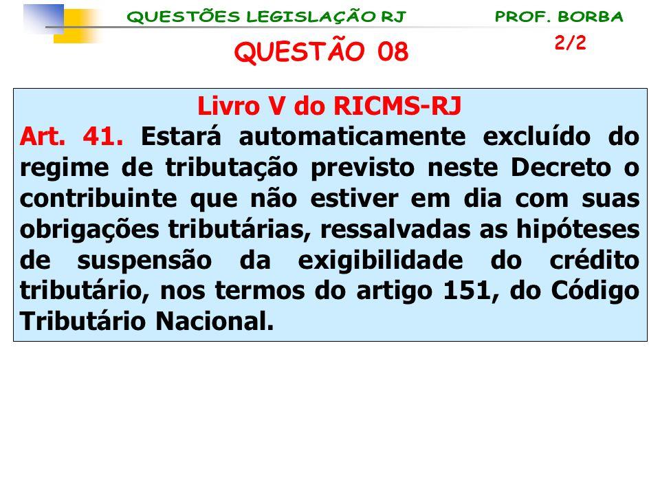 Livro V do RICMS-RJ Art. 41. Estará automaticamente excluído do regime de tributação previsto neste Decreto o contribuinte que não estiver em dia com