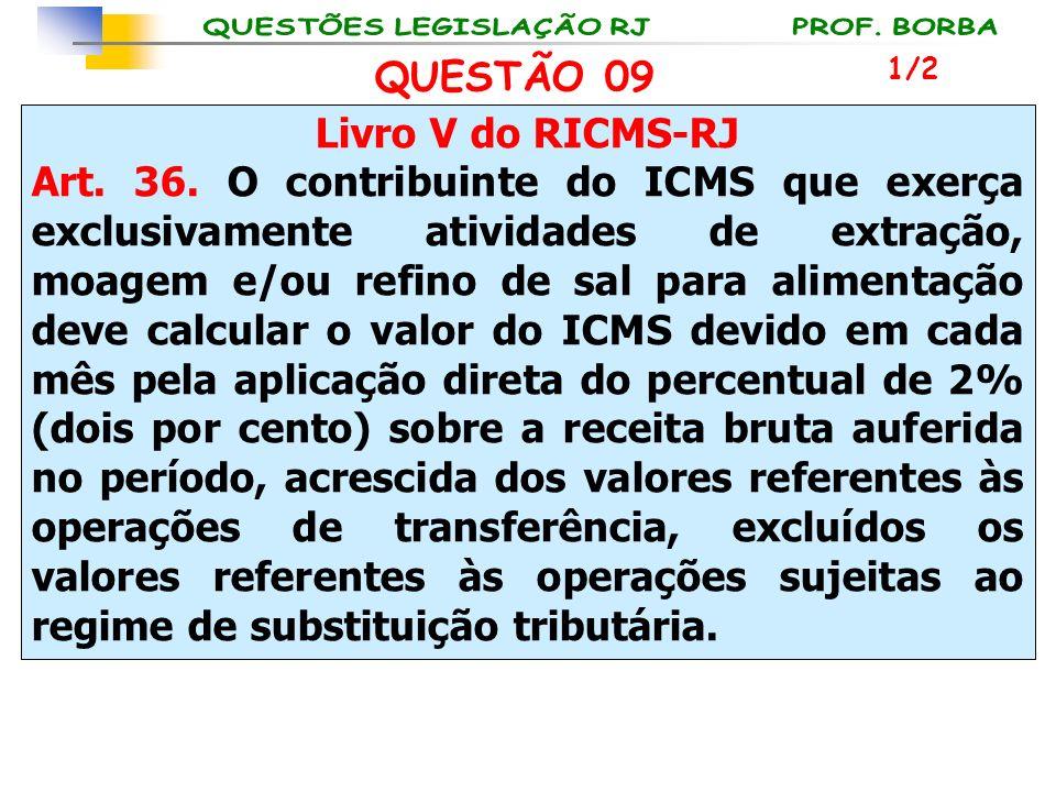 Livro V do RICMS-RJ Art. 36. O contribuinte do ICMS que exerça exclusivamente atividades de extração, moagem e/ou refino de sal para alimentação deve