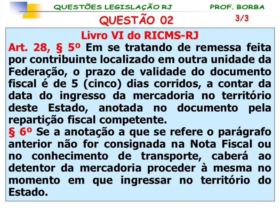 Livro VI do RICMS-RJ Art. 28, § 5º Em se tratando de remessa feita por contribuinte localizado em outra unidade da Federação, o prazo de validade do d