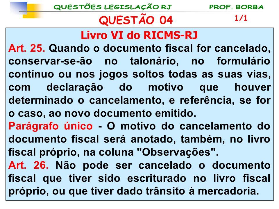 Livro VI do RICMS-RJ Art. 25. Quando o documento fiscal for cancelado, conservar-se-ão no talonário, no formulário contínuo ou nos jogos soltos todas
