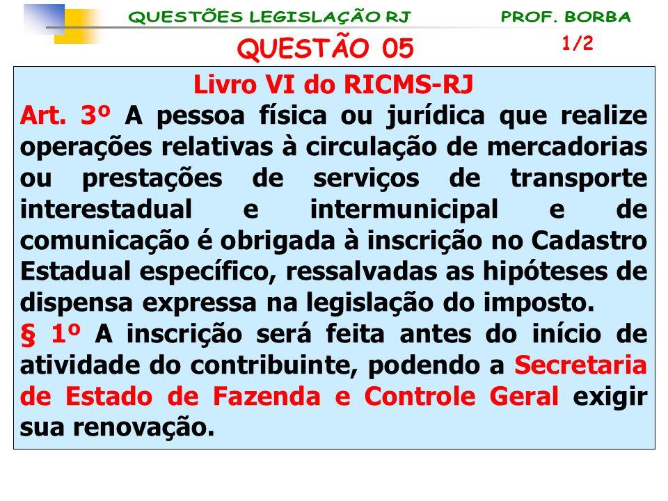 Livro VI do RICMS-RJ Art. 3º A pessoa física ou jurídica que realize operações relativas à circulação de mercadorias ou prestações de serviços de tran