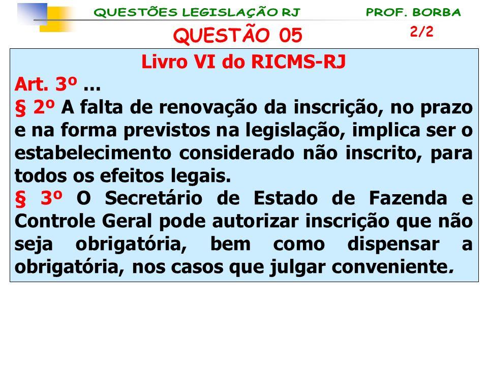 Livro VI do RICMS-RJ Art. 3º... § 2º A falta de renovação da inscrição, no prazo e na forma previstos na legislação, implica ser o estabelecimento con