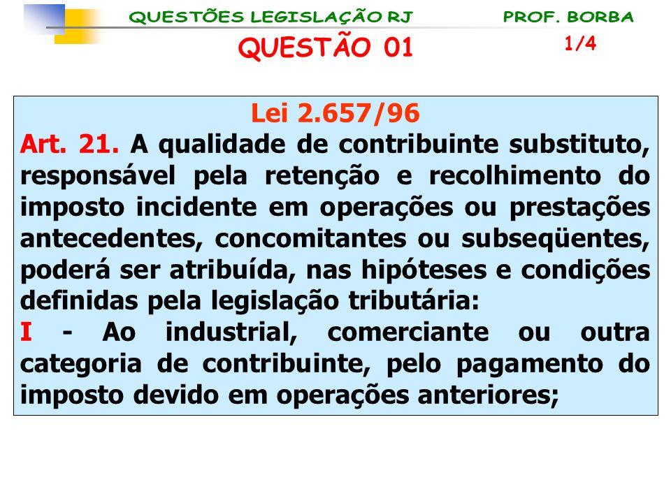 Lei 2.657/96 Art. 21. A qualidade de contribuinte substituto, responsável pela retenção e recolhimento do imposto incidente em operações ou prestações