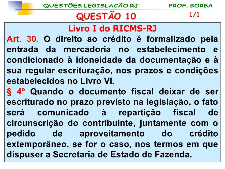 Livro I do RICMS-RJ Art. 30. O direito ao crédito é formalizado pela entrada da mercadoria no estabelecimento e condicionado à idoneidade da documenta