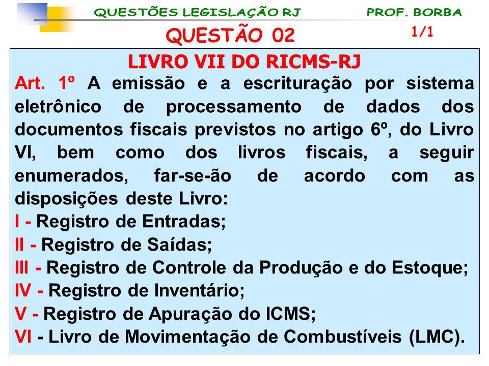 LIVRO VII DO RICMS-RJ Art. 1º A emissão e a escrituração por sistema eletrônico de processamento de dados dos documentos fiscais previstos no artigo 6