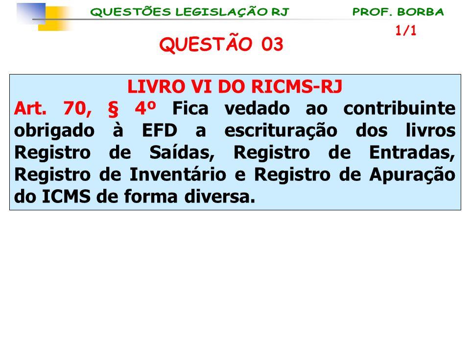 LIVRO VI DO RICMS-RJ Art. 70, § 4º Fica vedado ao contribuinte obrigado à EFD a escrituração dos livros Registro de Saídas, Registro de Entradas, Regi