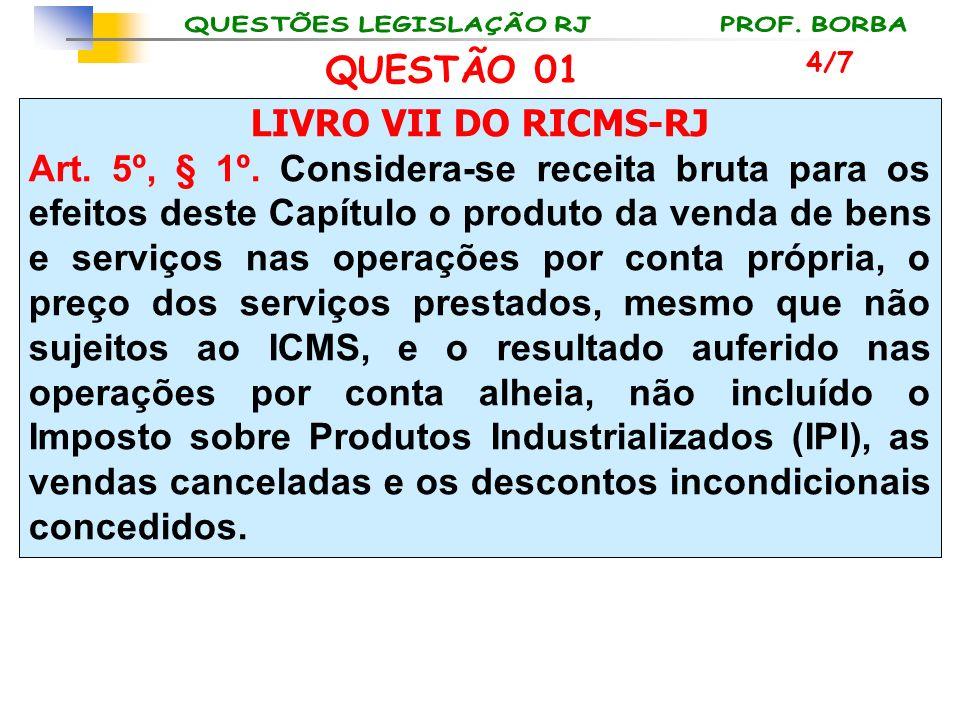 LIVRO VII DO RICMS-RJ Art. 5º, § 1º. Considera-se receita bruta para os efeitos deste Capítulo o produto da venda de bens e serviços nas operações por