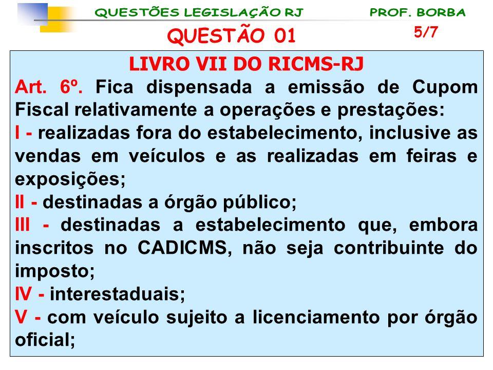 LIVRO VII DO RICMS-RJ Art. 6º. Fica dispensada a emissão de Cupom Fiscal relativamente a operações e prestações: I - realizadas fora do estabeleciment