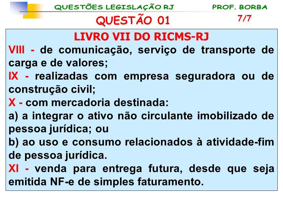 LIVRO VII DO RICMS-RJ VIII - de comunicação, serviço de transporte de carga e de valores; IX - realizadas com empresa seguradora ou de construção civi