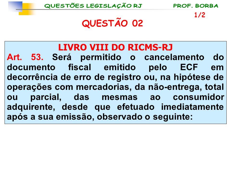 LIVRO VIII DO RICMS-RJ Art. 53. Será permitido o cancelamento do documento fiscal emitido pelo ECF em decorrência de erro de registro ou, na hipótese