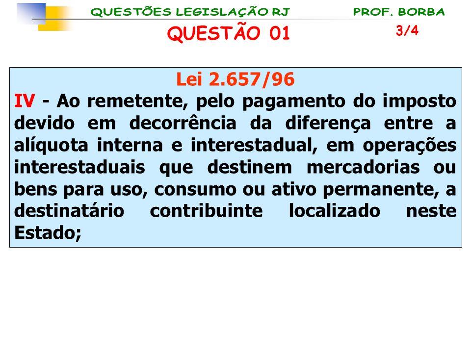 Lei 2.657/96 IV - Ao remetente, pelo pagamento do imposto devido em decorrência da diferença entre a alíquota interna e interestadual, em operações in