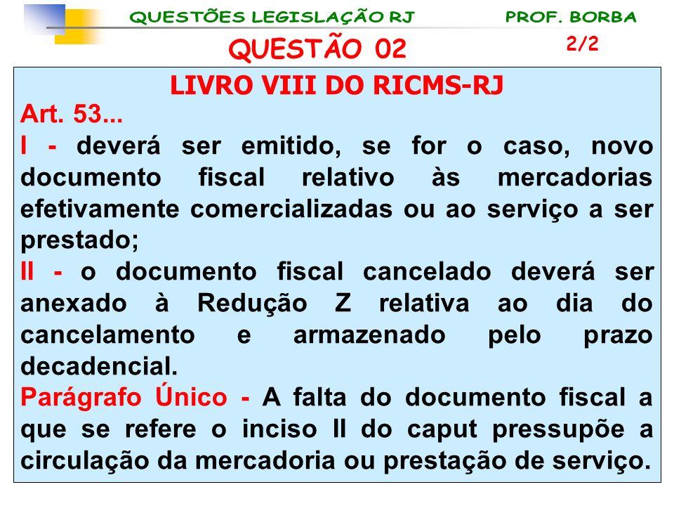 LIVRO VIII DO RICMS-RJ Art. 53... I - deverá ser emitido, se for o caso, novo documento fiscal relativo às mercadorias efetivamente comercializadas ou