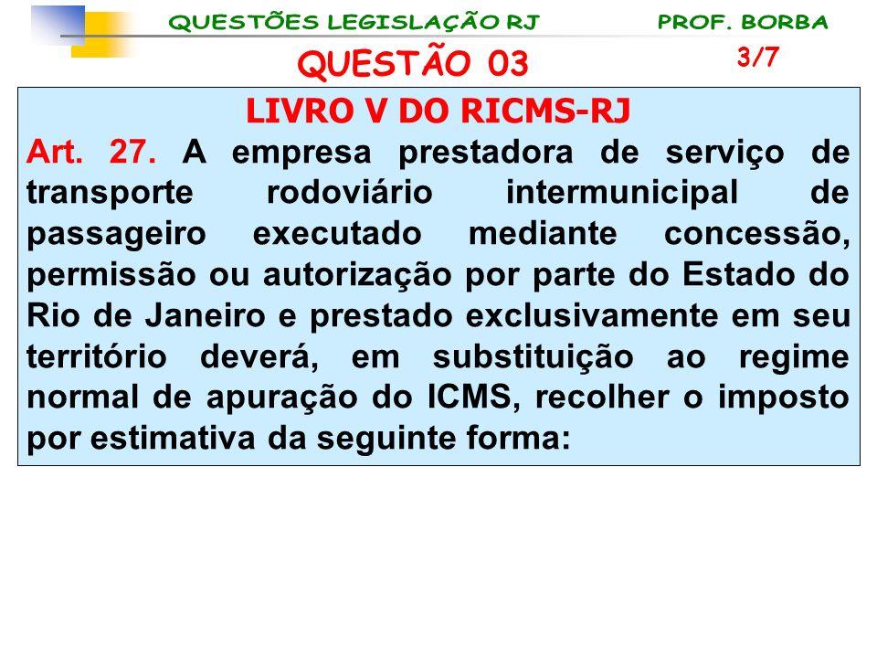 LIVRO V DO RICMS-RJ Art. 27. A empresa prestadora de serviço de transporte rodoviário intermunicipal de passageiro executado mediante concessão, permi